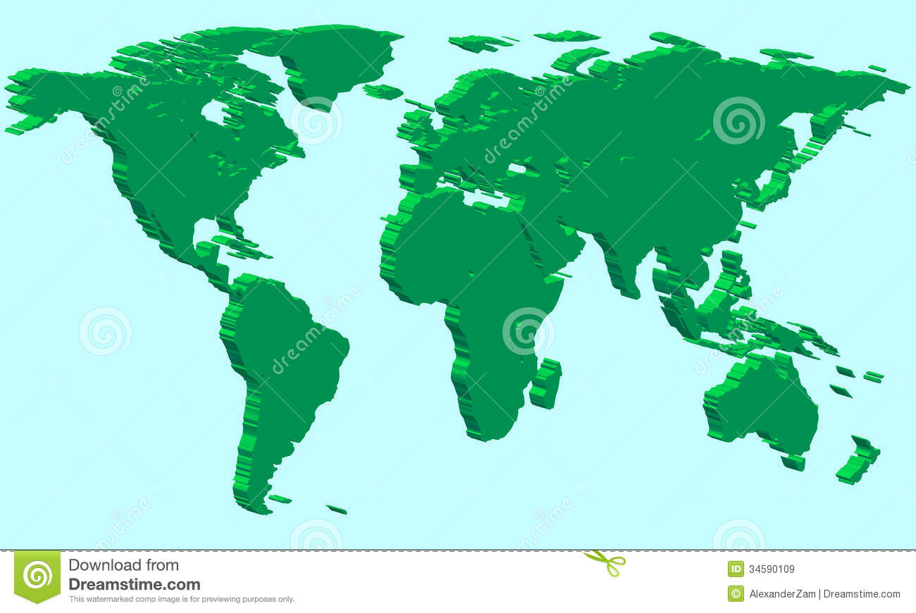 Extruded world map stock vector illustration of globalization extruded world map gumiabroncs Image collections