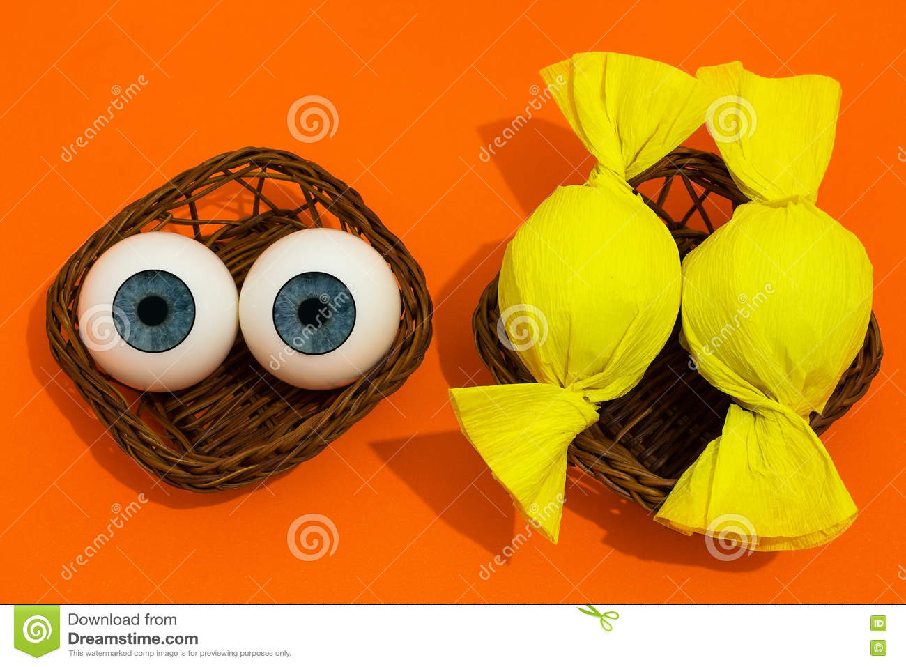 Eye Balls And Candy In Baskets Stock Photo - Image: 75241770