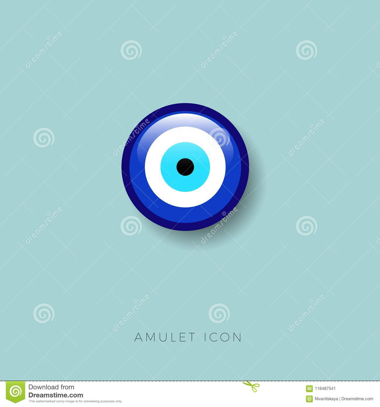 Eye Bead Icon Amulet Protect Against The Evil Eye Glossy Button