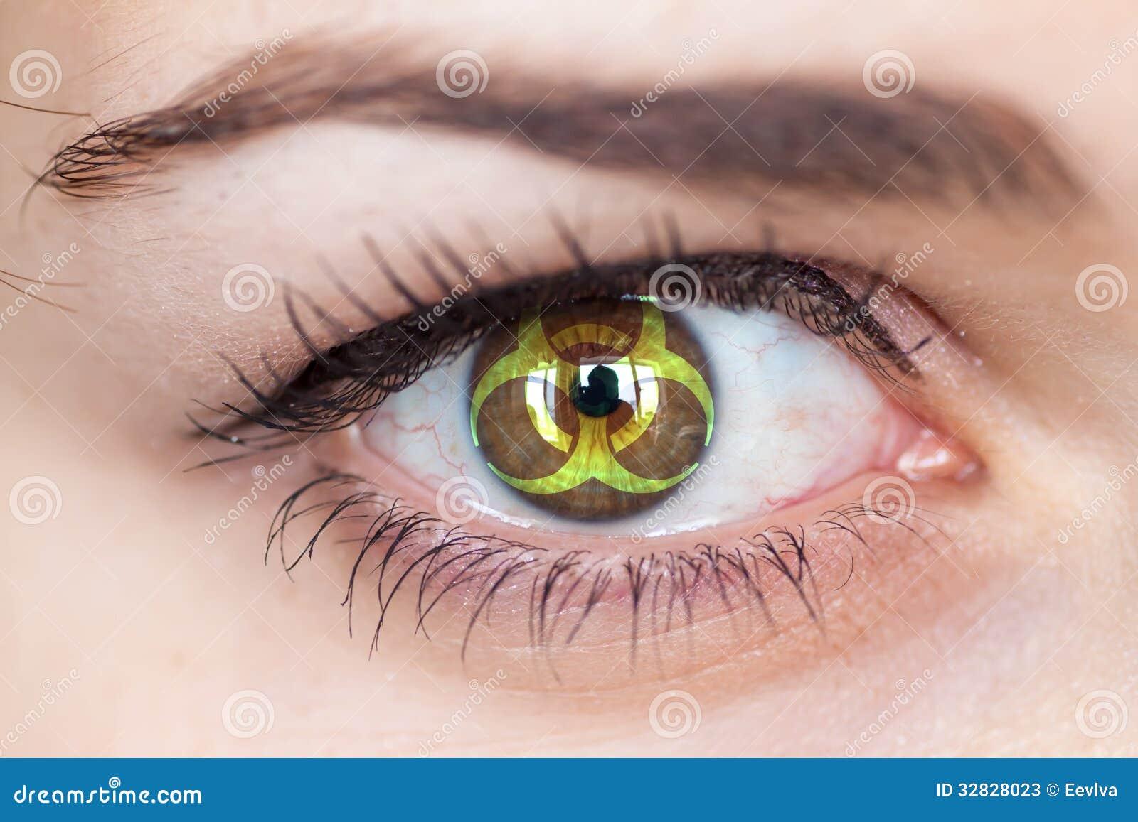 Eye with biohazard symbol
