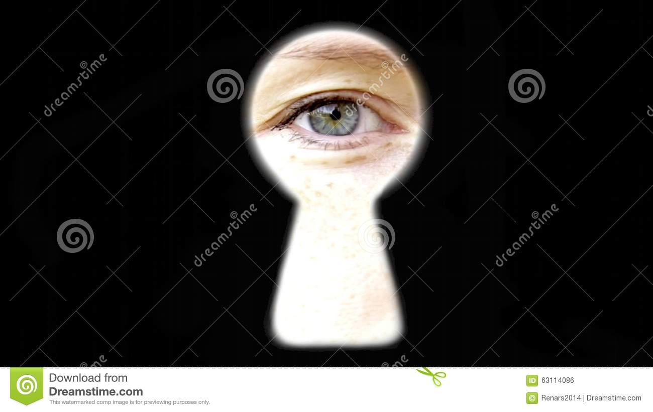 Eye Blinking Looking At You Watching Through Key Hole Spying Door Trying  Find Out Secrets Attention Stock Footage   Video Of Door, Spying: 63114086