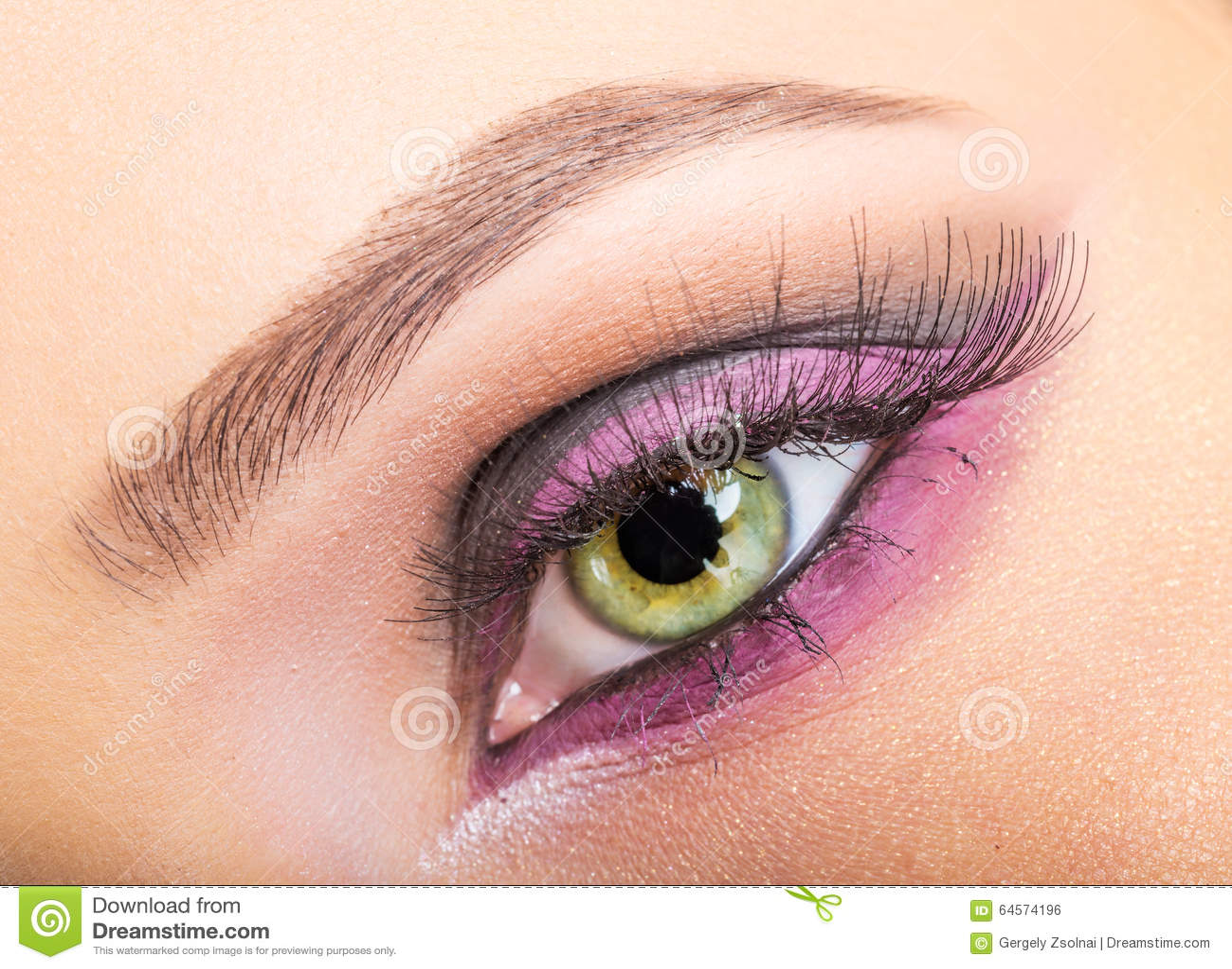 Fashion week Makeup eye purple close up photo for woman