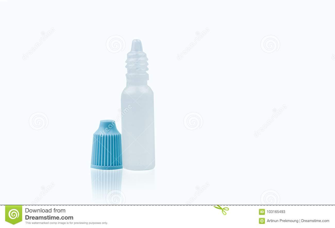 Eye Drops Bottle With Opened Blue Cap Isolated On White Background