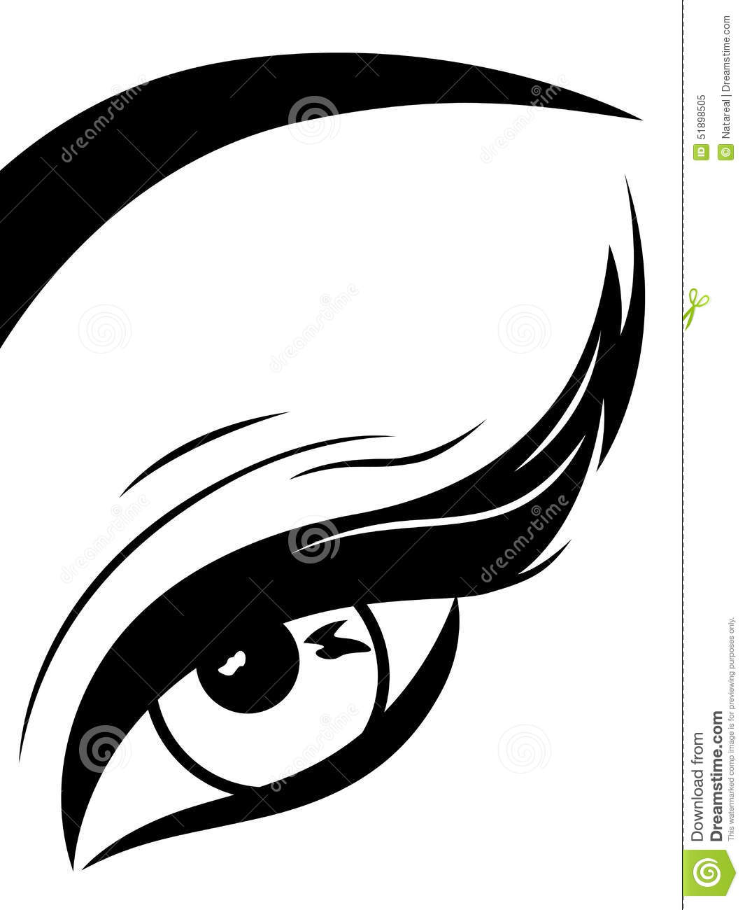 Eye With Fluffy Eyelid Close-up Stock Vector - Illustration of ...