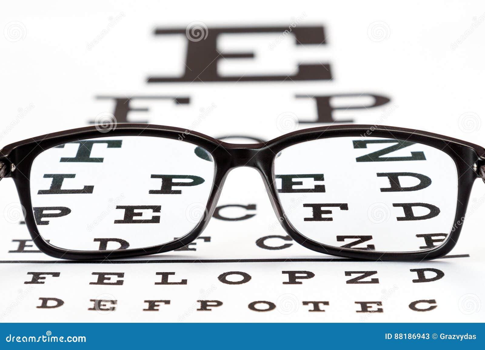 Eye Glasses On Eyesight Test Chart Stock Image Image Of Eyeglass