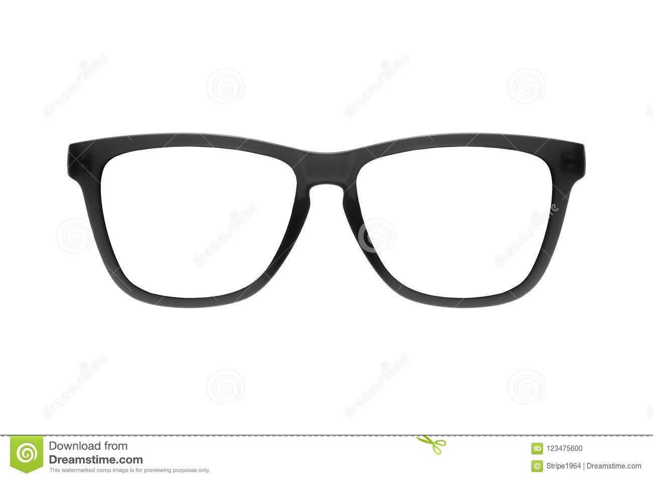 Eye glasses frame black isolated on white background