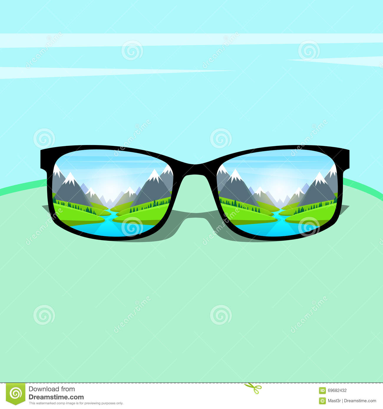 Eye Glasses With Mountain Water River Landscape Forest