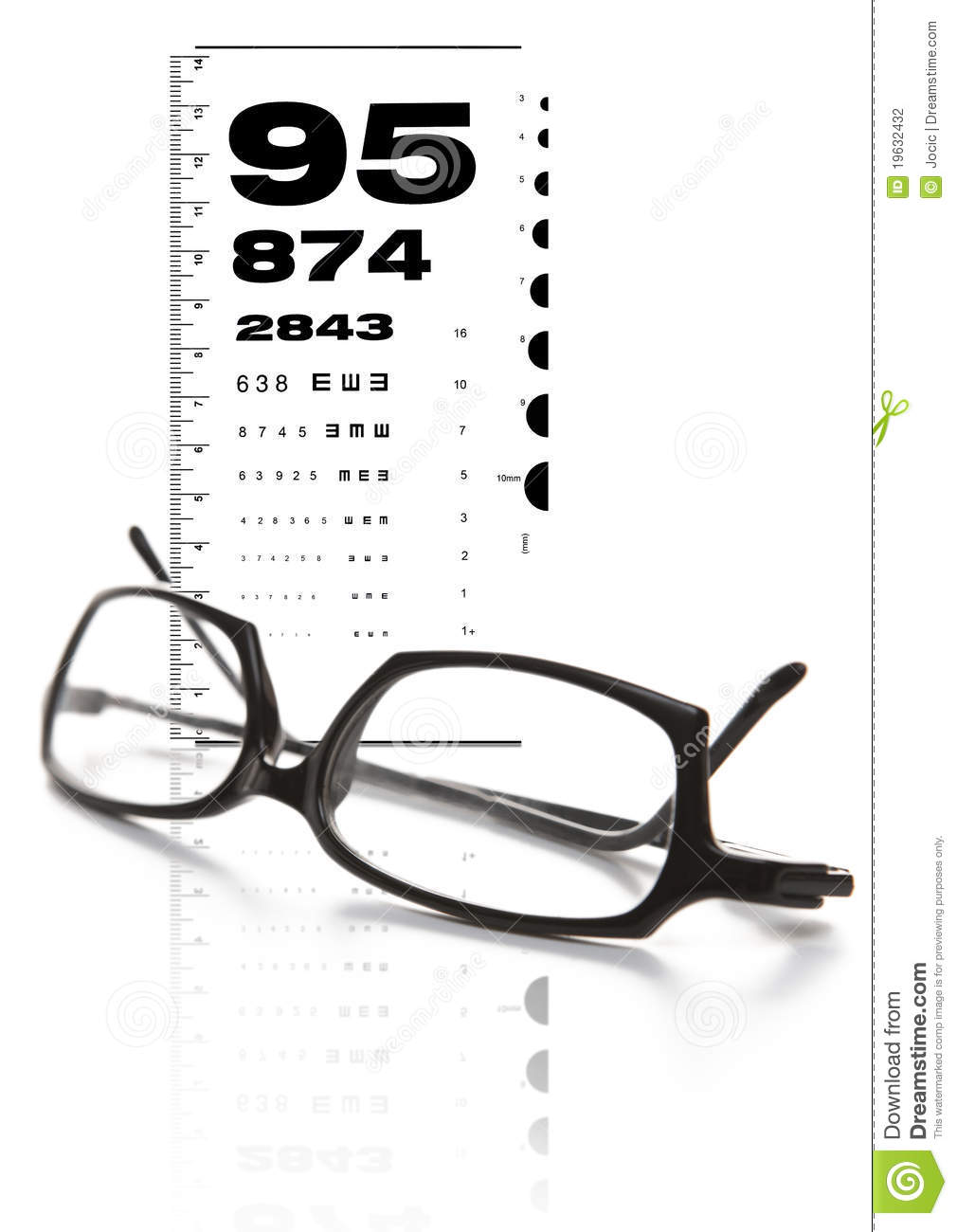 Eye Glasses And Test Chart Stock Photography - Image: 19632432