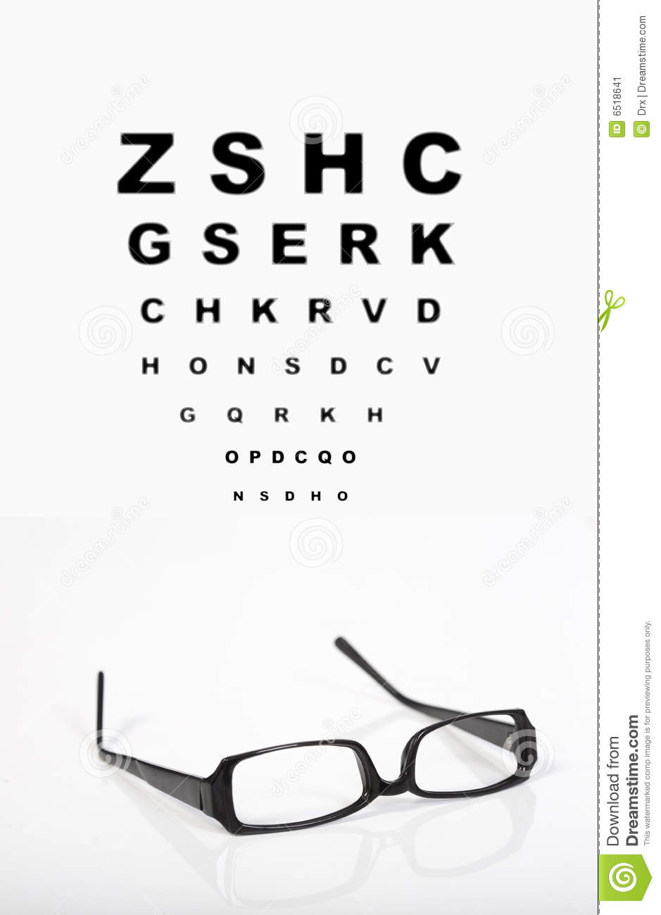 Eye Glasses And Test Chart Stock Image - Image: 6518641