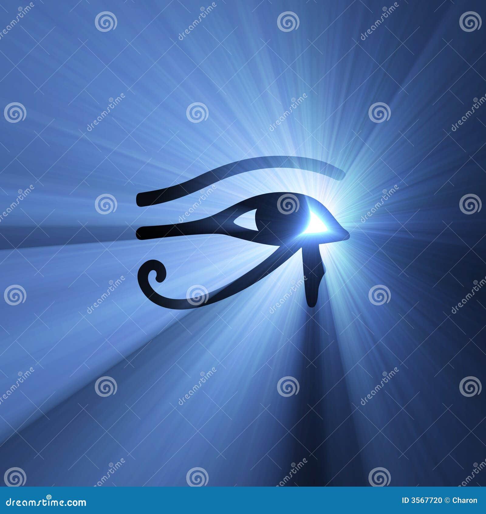 Eye of Horus Egyptian symbol light flare