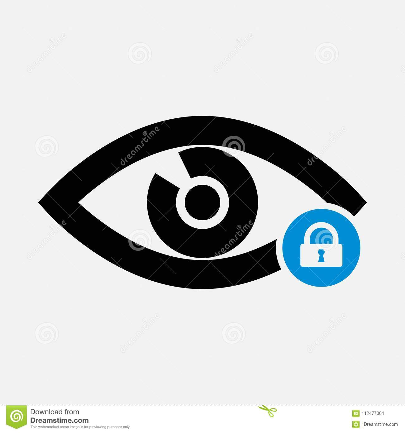 Eye Icon With Padlock Sign Eye Icon And Security Protection