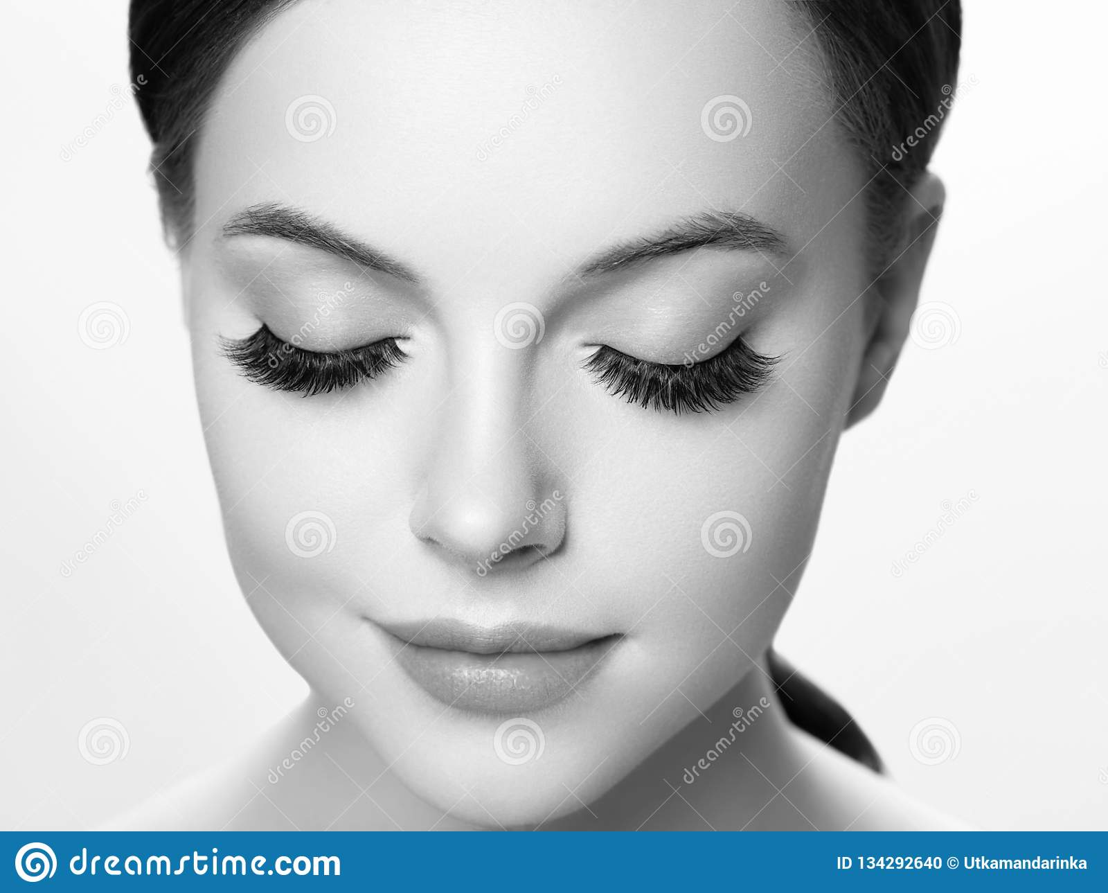 a854c5fe878 Royalty-Free Stock Photo. Eye lashes, lash extension woman lashes close up  macro monochrome