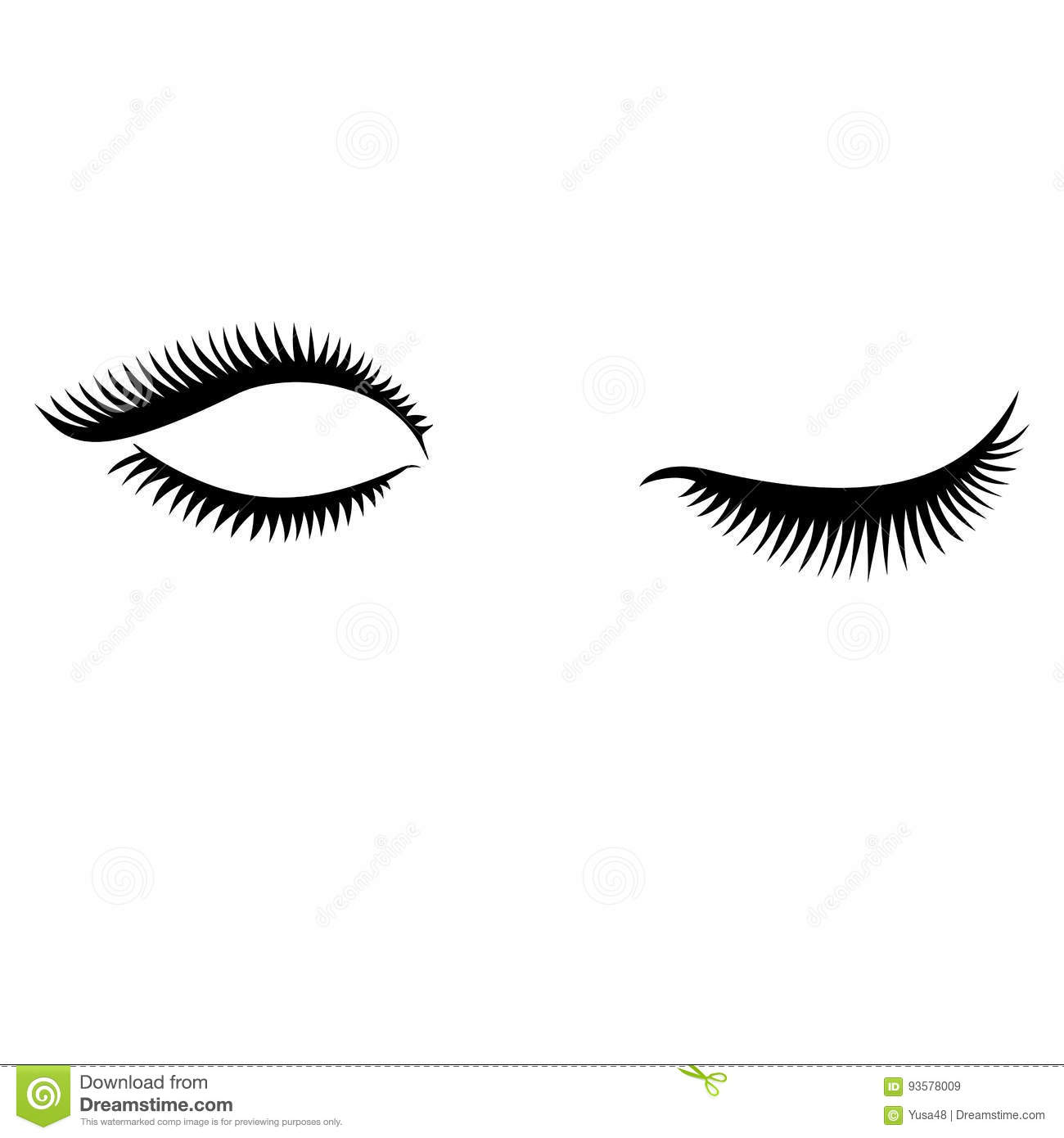 0b0204ca000 Eye lashes vector . Lashes vector. Open and close lashes. Download preview