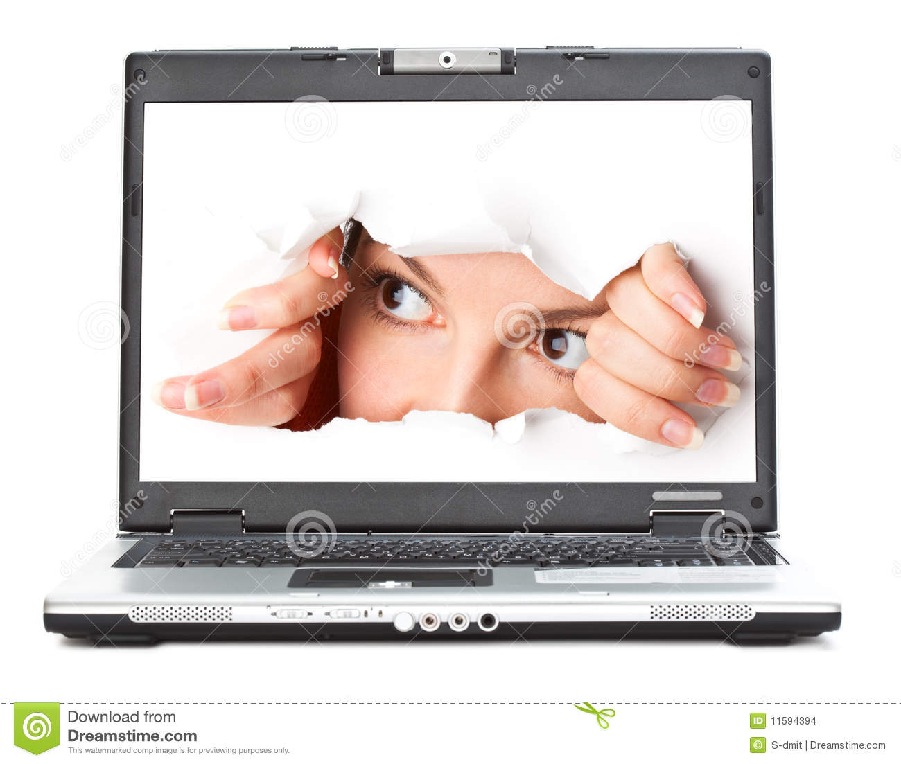 Eye looking through hole in screen of laptop