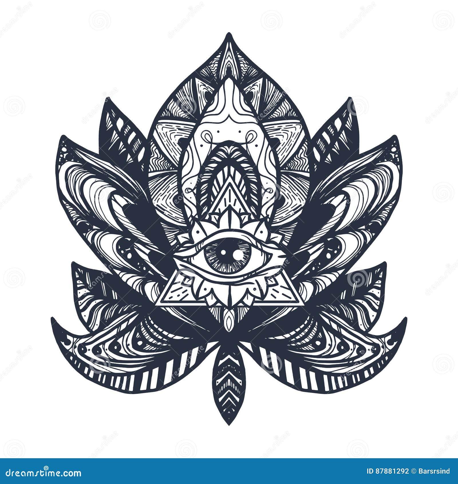 Eye On Lotus Tattoo Stock Illustration Illustration Of Design