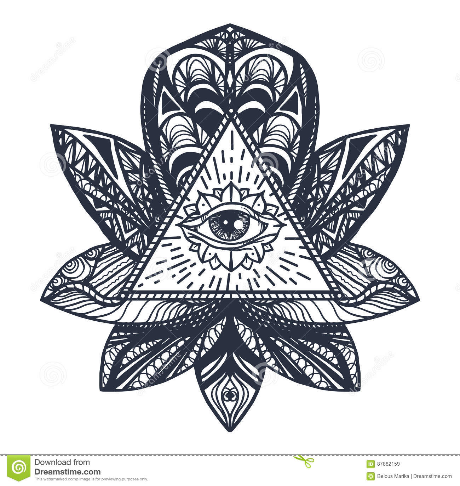 Eye On Lotus Tattoo Stock Illustration Illustration Of