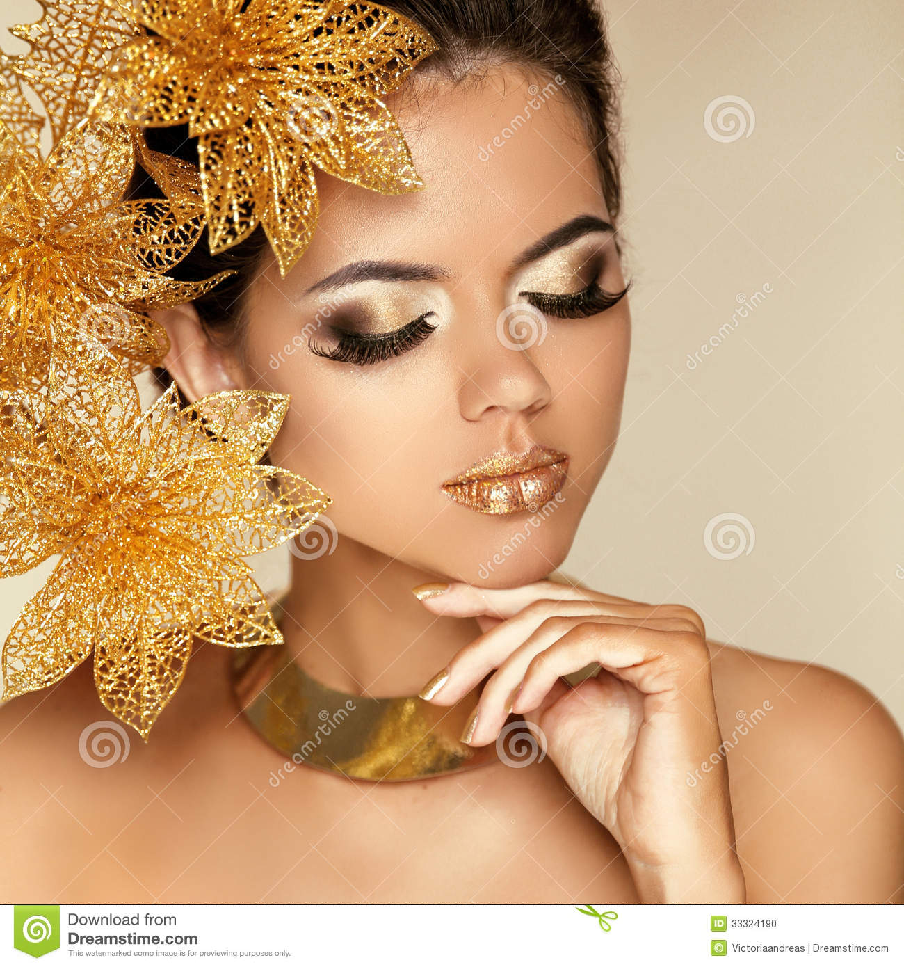 Eye makeup beautiful girl with golden flowers beauty model wom eye makeup beautiful girl with golden flowers beauty model wom solutioingenieria Gallery
