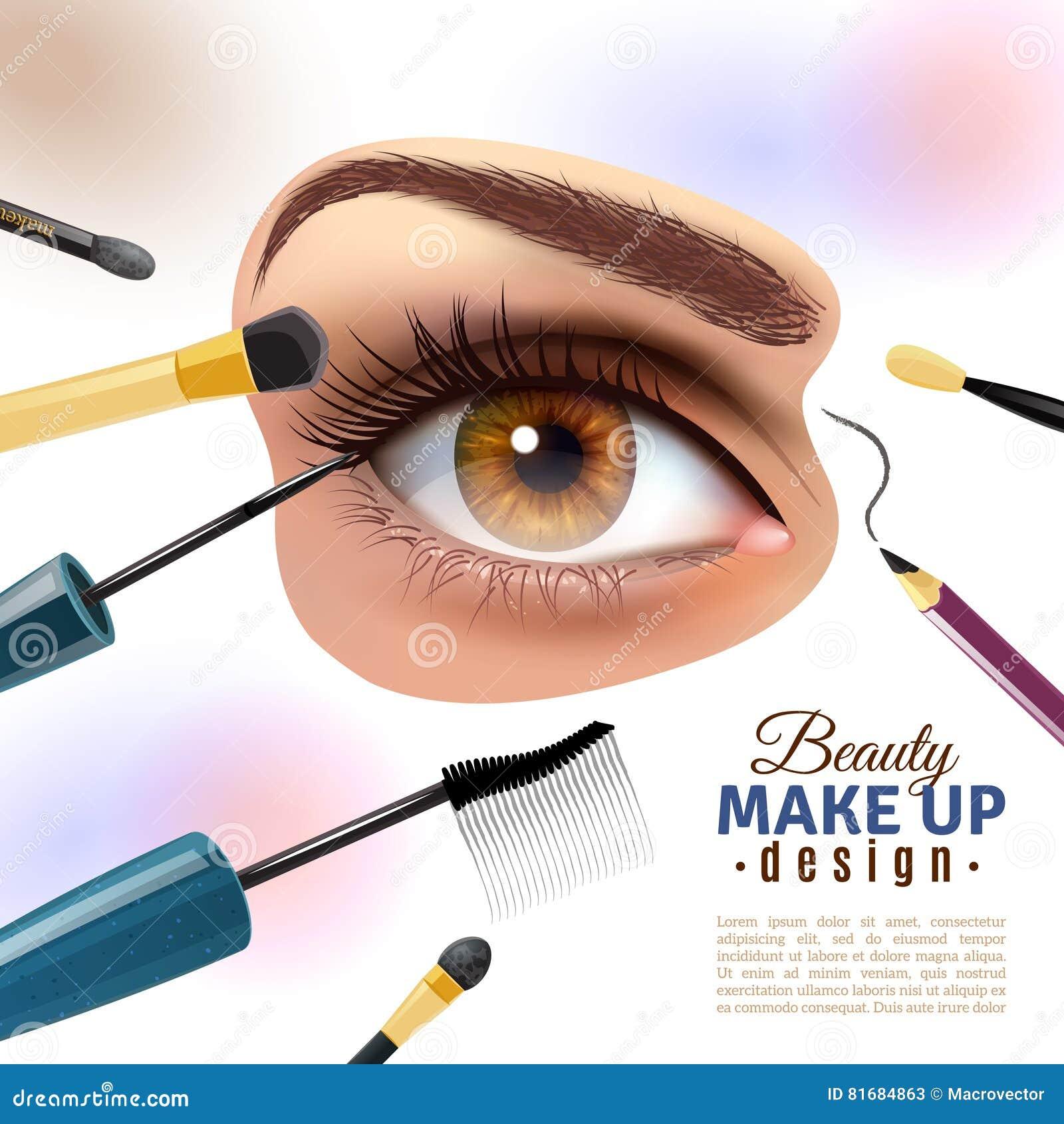 Eye Makeup Blurred Background Poster Stock Vector Illustration Of
