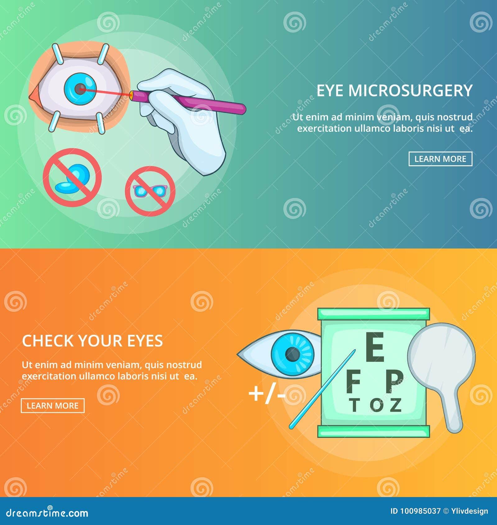 eye microsurgery banner set template cartoon style stock vector