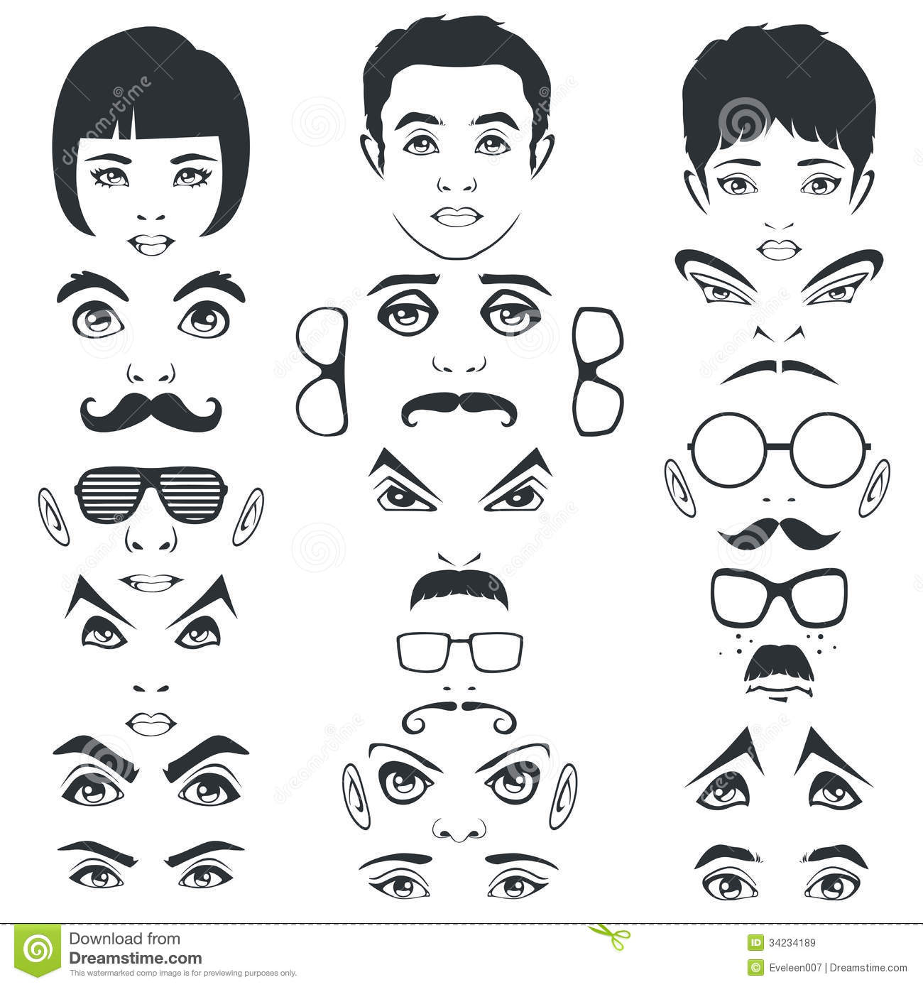 Eye Mustache Lips And Hair Face Parts Head Character Stock Vector