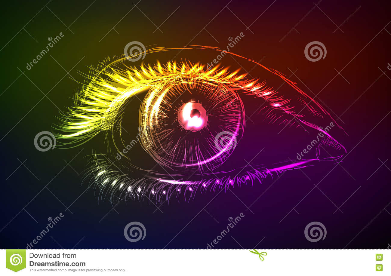 Eye In The Neon Style On A Dark Background Stock Vector