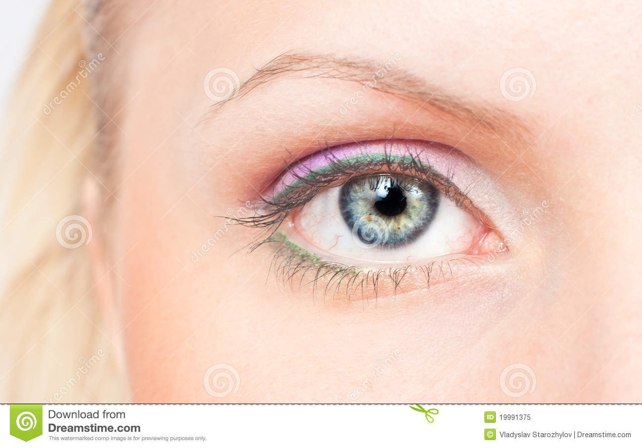 eye with pink and green make up royalty free stock photo. Black Bedroom Furniture Sets. Home Design Ideas