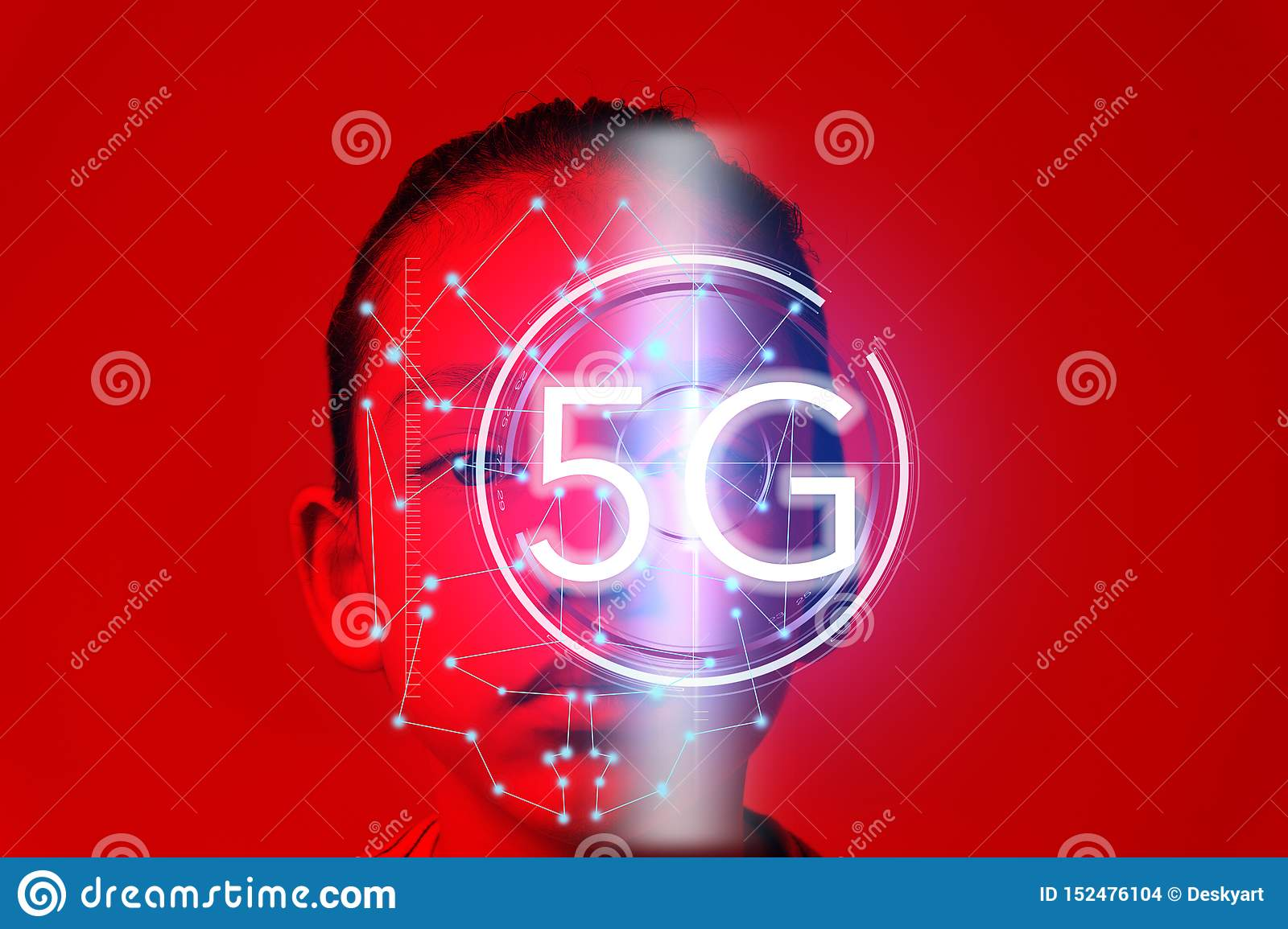 Eye recognition technology on new cyber technology 5G wireless internet wifi connection, isolated on future concept in global
