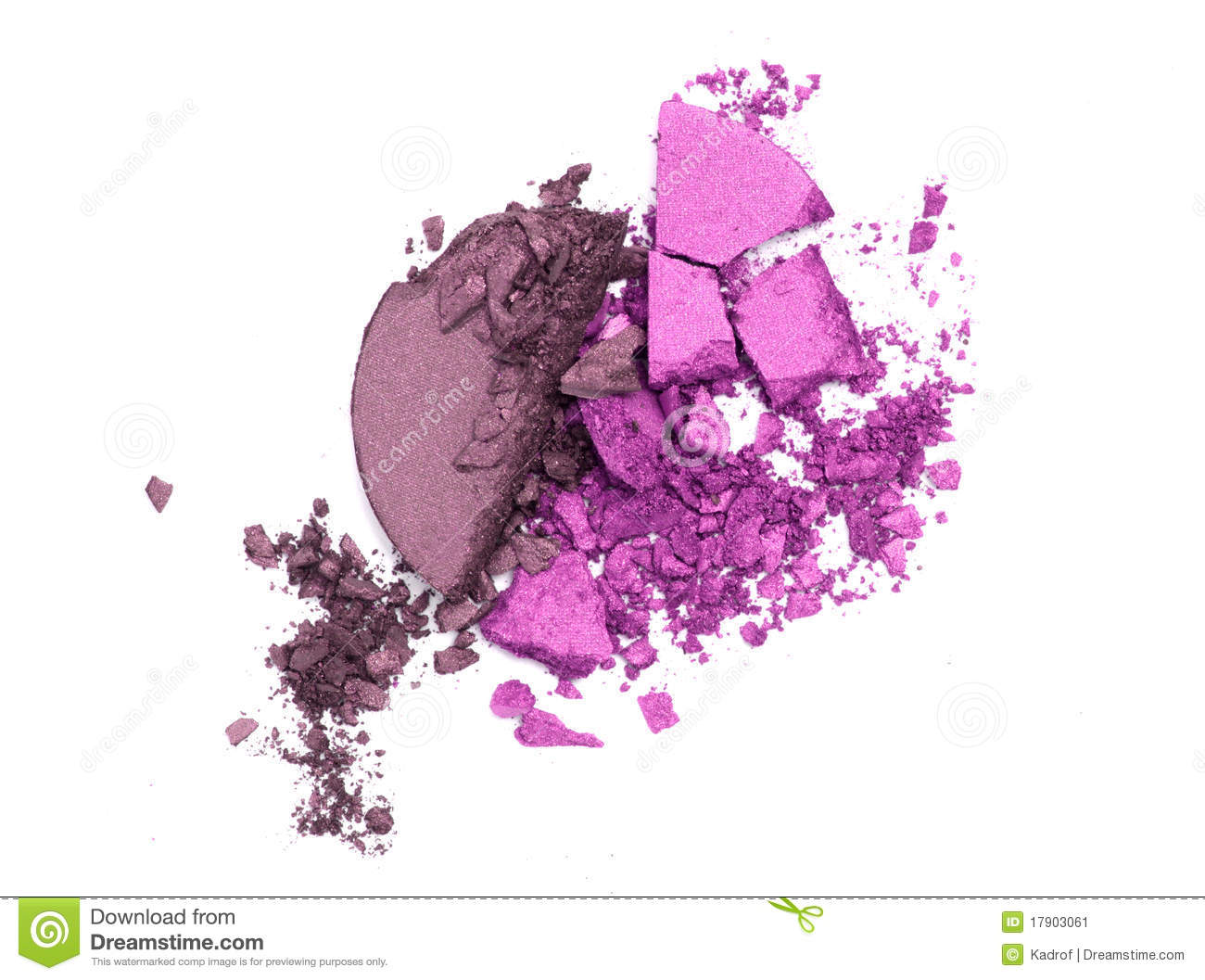 Eye shadow crushed samples isolated