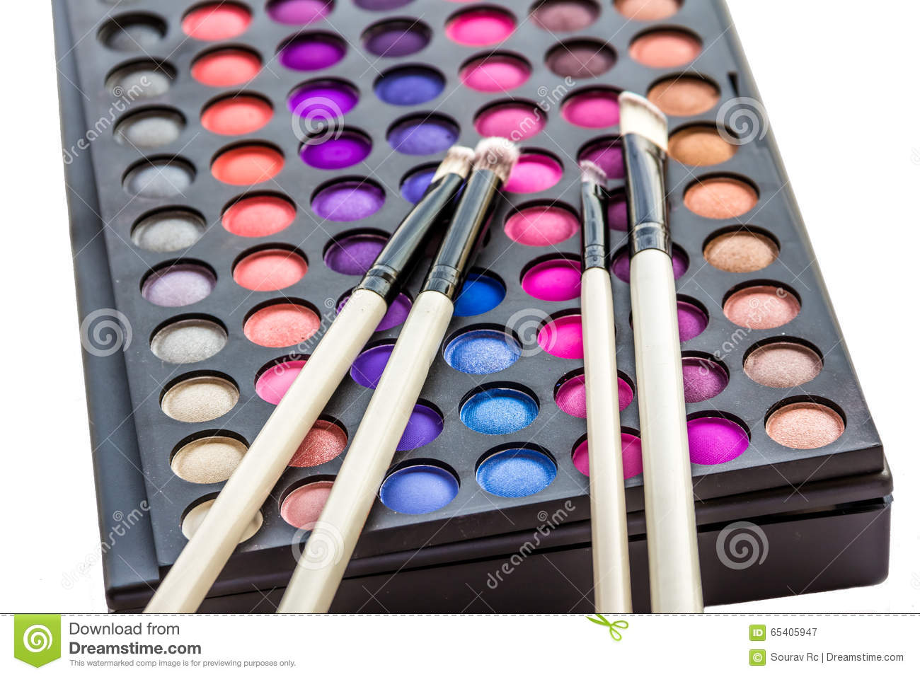 Eye Shadows Palette With Brush Stock Photo