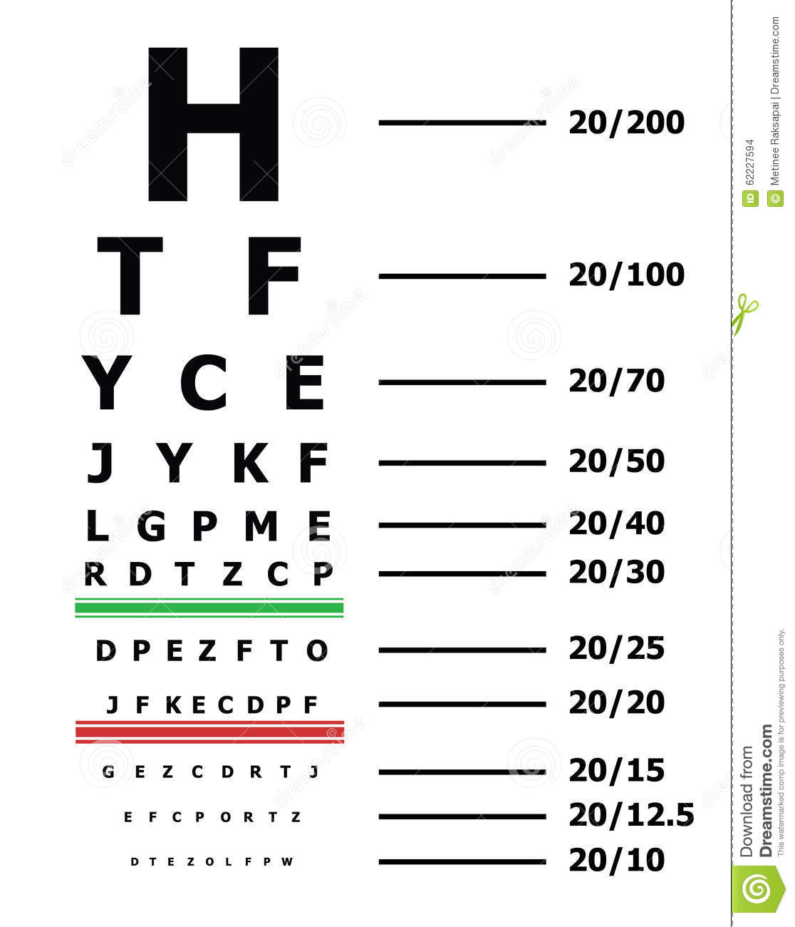 Eye sight test chart