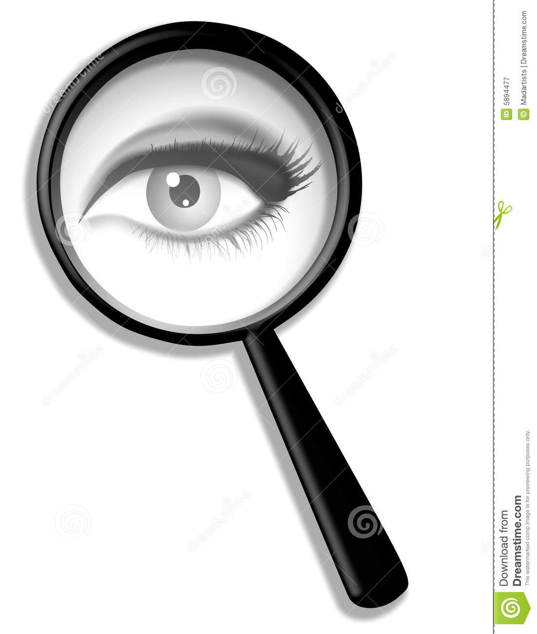 An illustration featuring a female eye looking through a magnifying ...