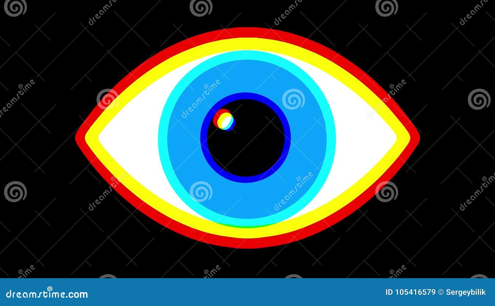 Jumpy Rgb Blue Eye Symbol On Lcd Led Screen Display Background