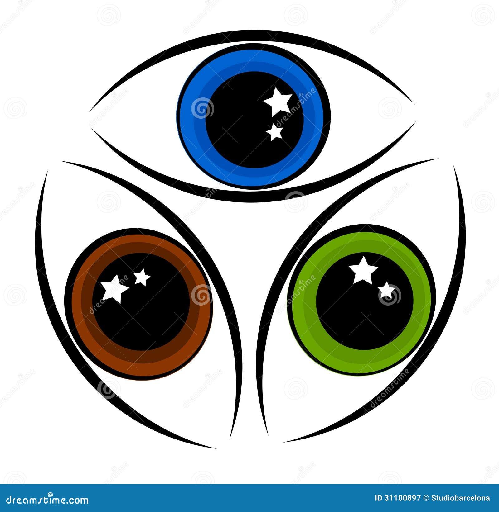 three eyes emblem cartoon vector cartoondealer com 17022401 Beautiful Owl Art Steampunk Owl Art