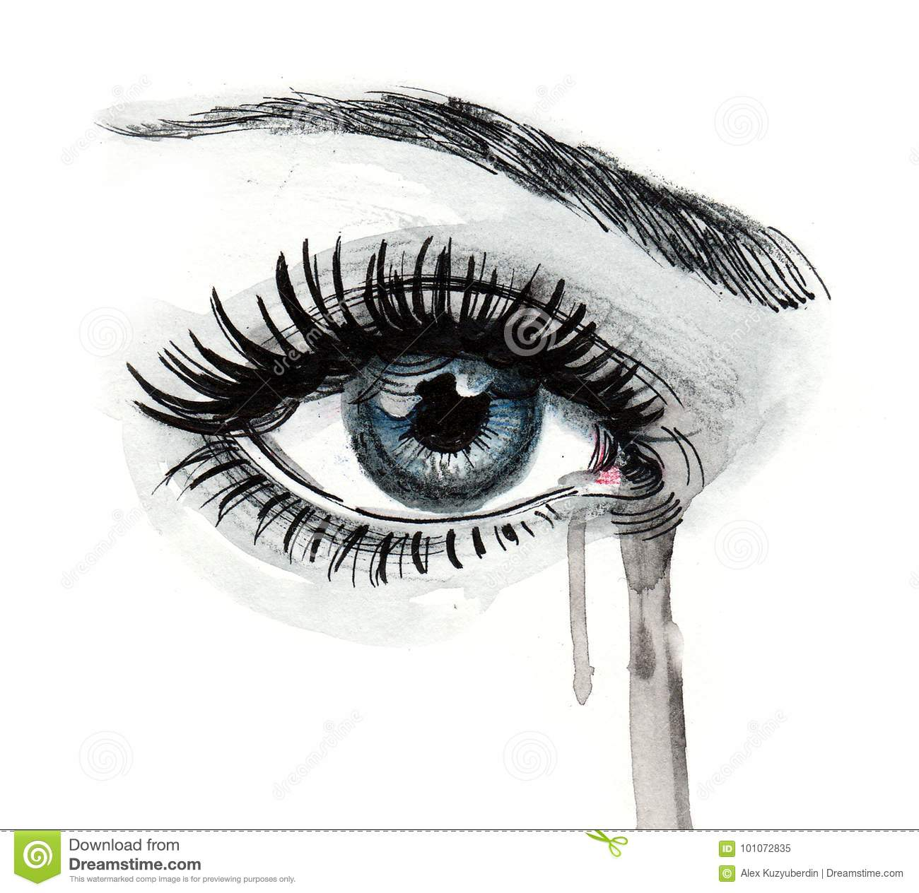 Ink and watercolor drawing of a beautiful girls crying eye