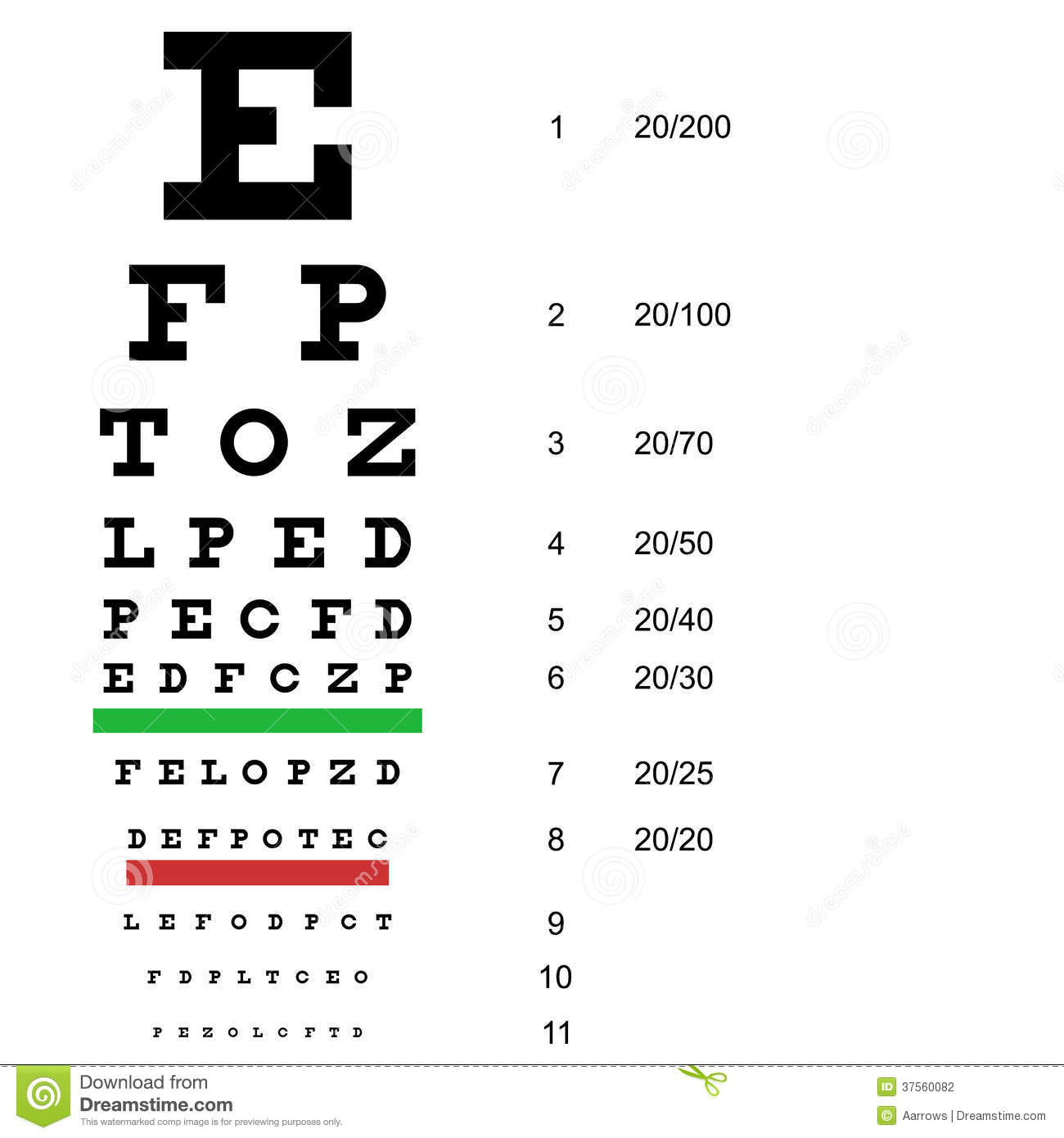 Eye Test Chart Use By Doctors Vector Stock Photography