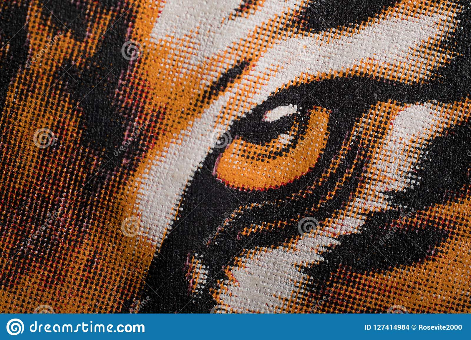 Eye Of The Tiger Print On A Canvas Stock Photo Image Of Pause