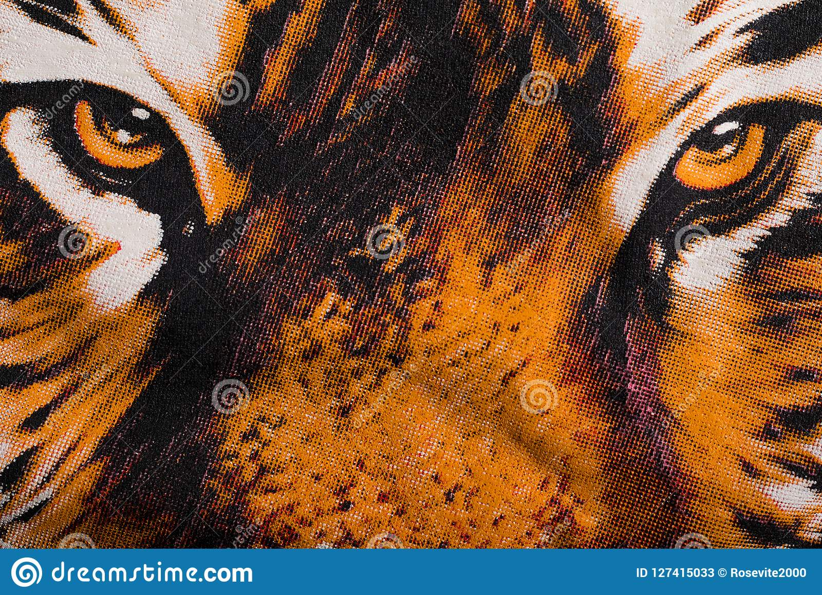 Eye Of The Tiger Print On A Canvas Stock Illustration