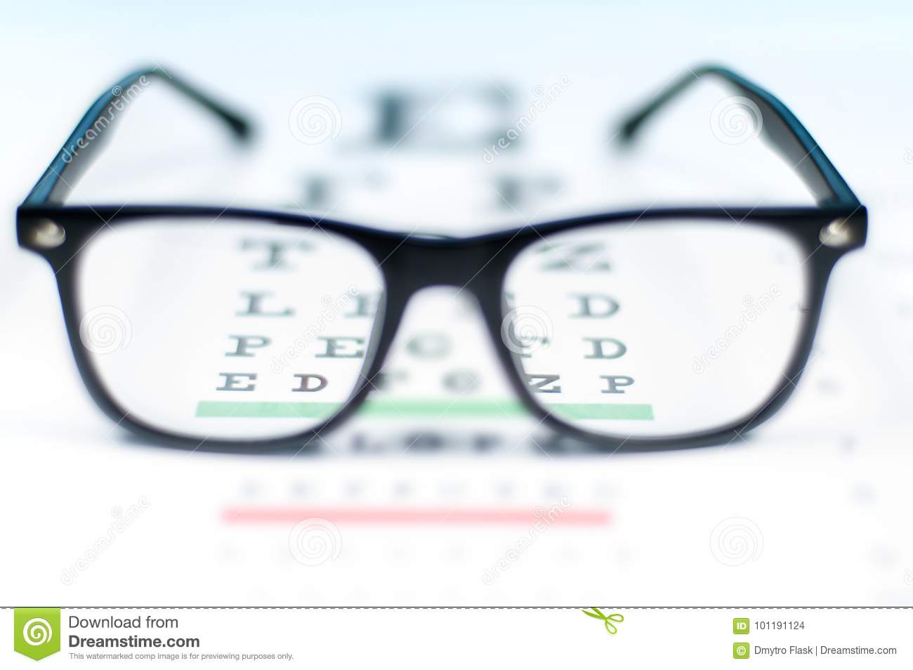 f2ca342b05 Eye Vision Test Chart Seen Through Eye Glasses. Stock Photo - Image ...