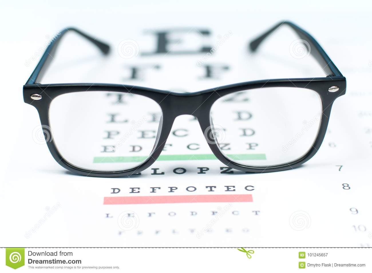 9fb52c9239 Eye Vision Test Chart Seen Through Eye Glasses. Stock Image - Image ...