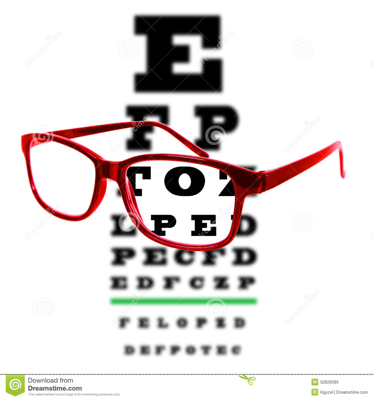 Eye Vision Test Chart Seen Through Eye Glasses, White ...