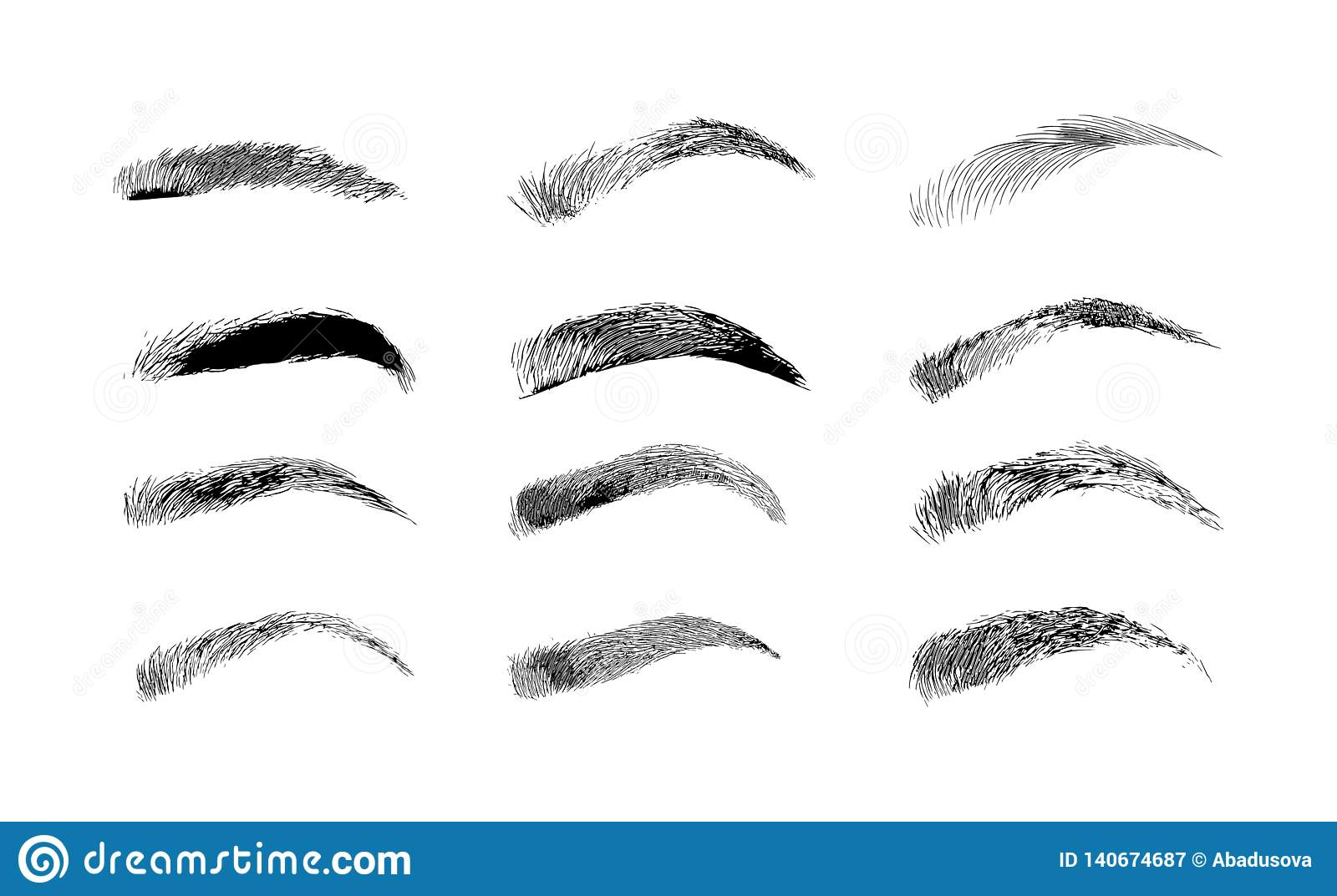 Eyebrow shapes various types of eyebrows classic type and