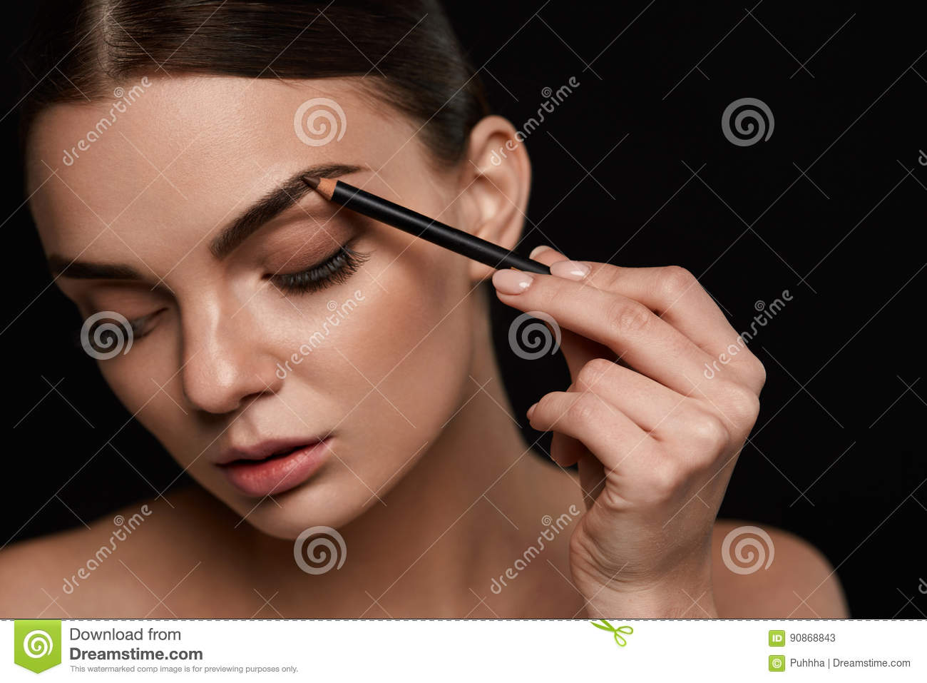Eyebrows Contouring. Beautiful Woman With Brown Eyebrow Pencil