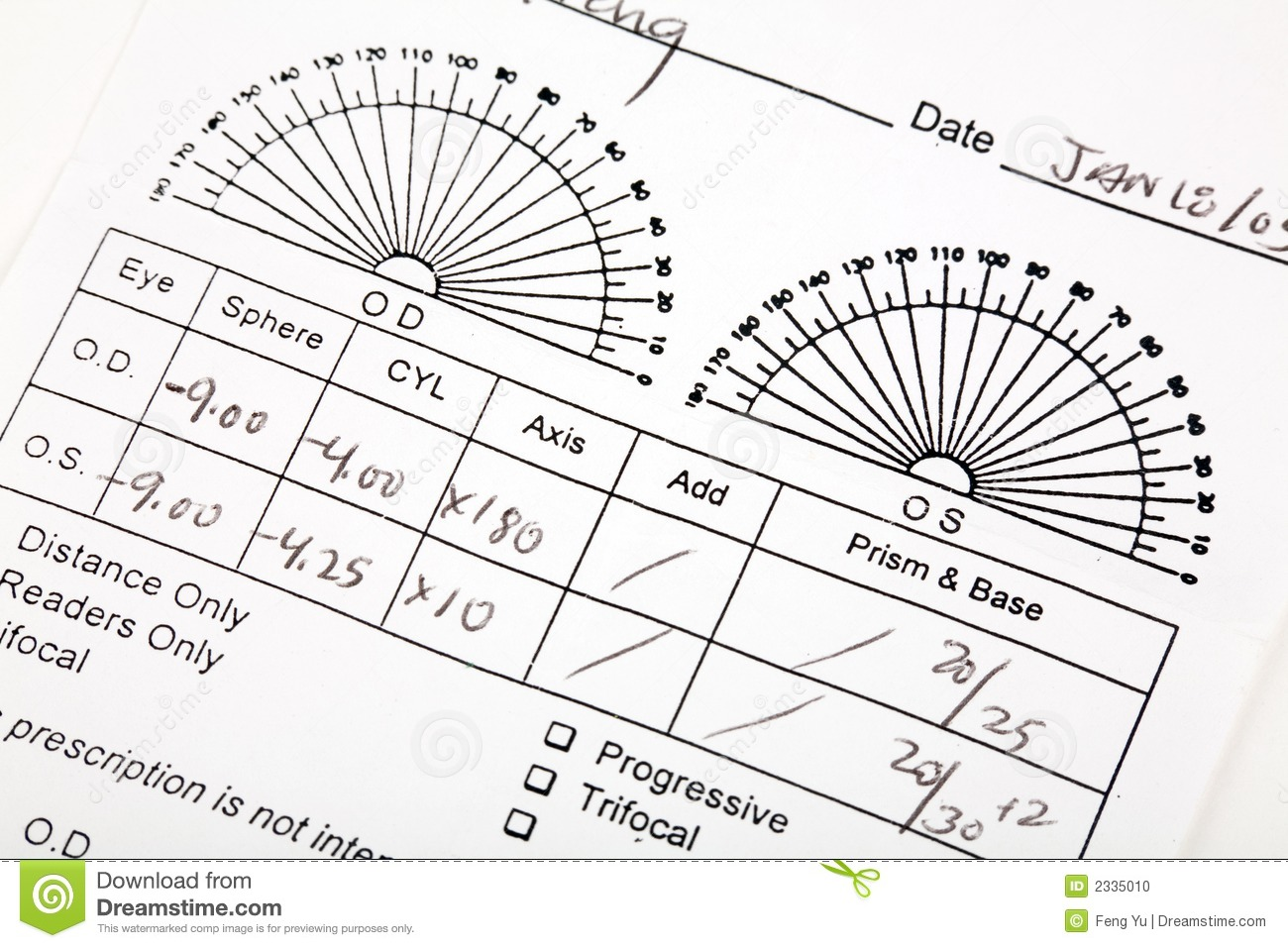 How To Read Eyeglass Frame Numbers : Eyeglass Prescription Stock Photo - Image: 2335010