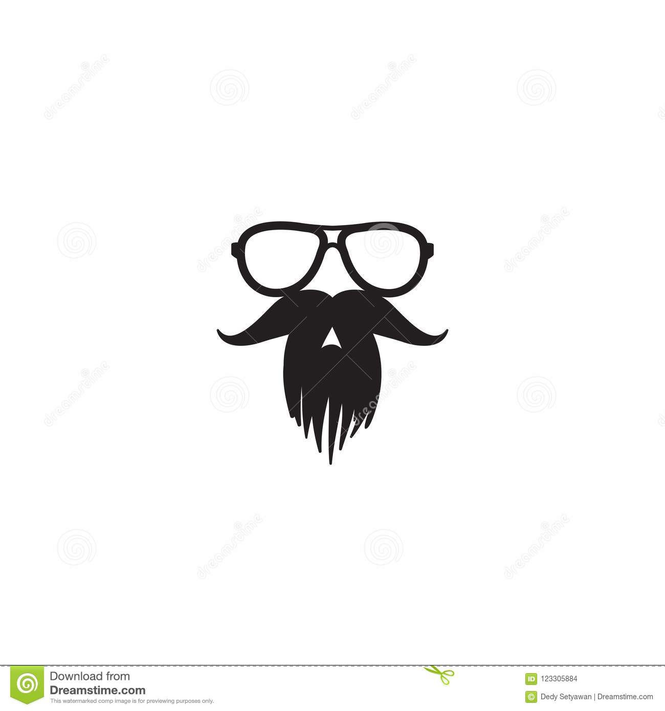 mustache and glasses icon vector template stock vector