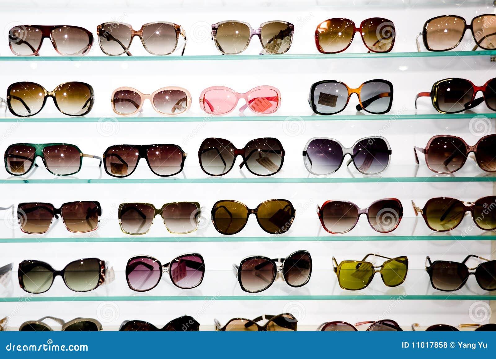 Eyeglasses display - Eyeglasses Display Shelves Royalty Free Stock Photos
