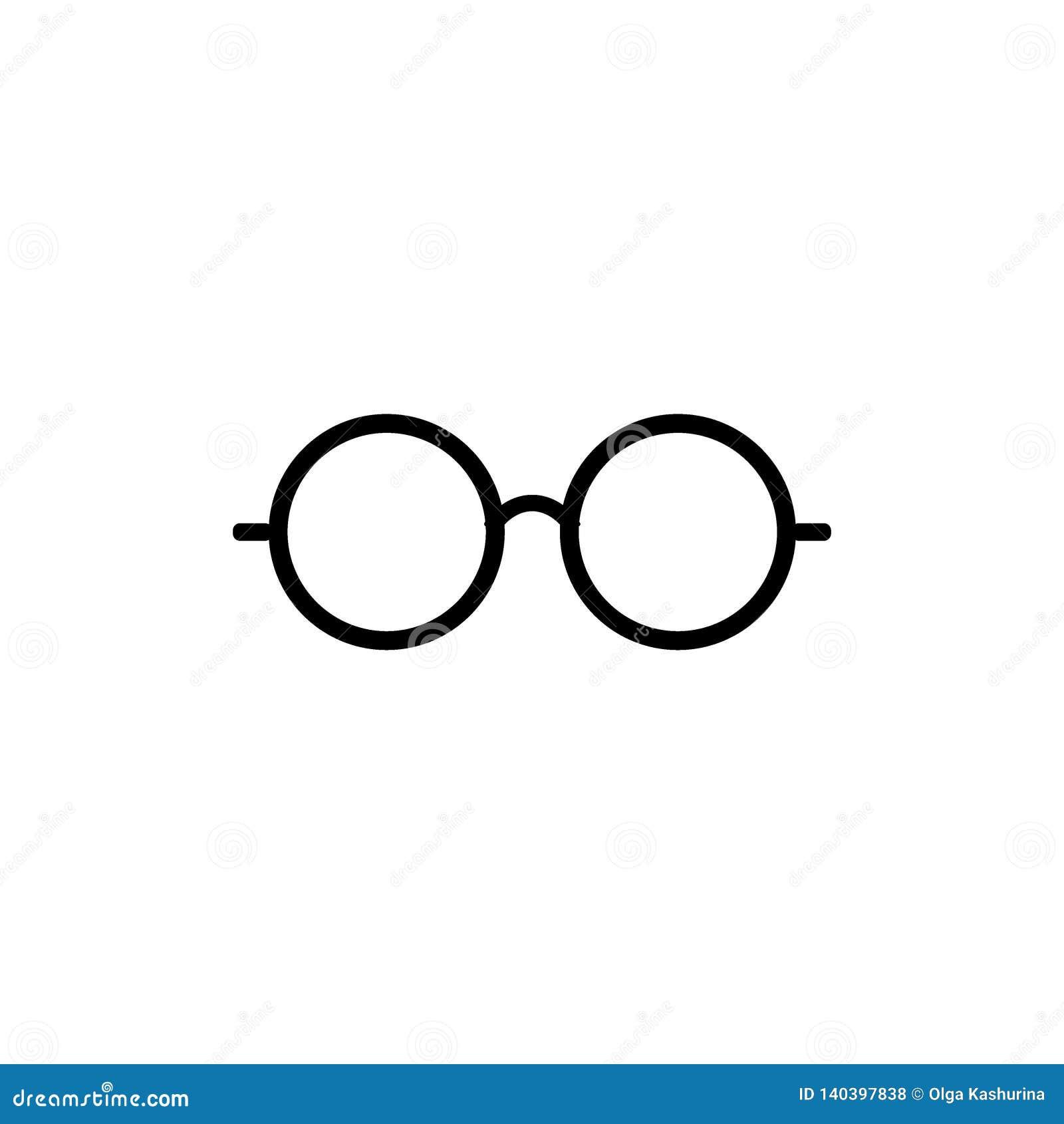Eyeglasses ikona Szkło ikona Round szkieł ikony symbol Ustawiający - wektor