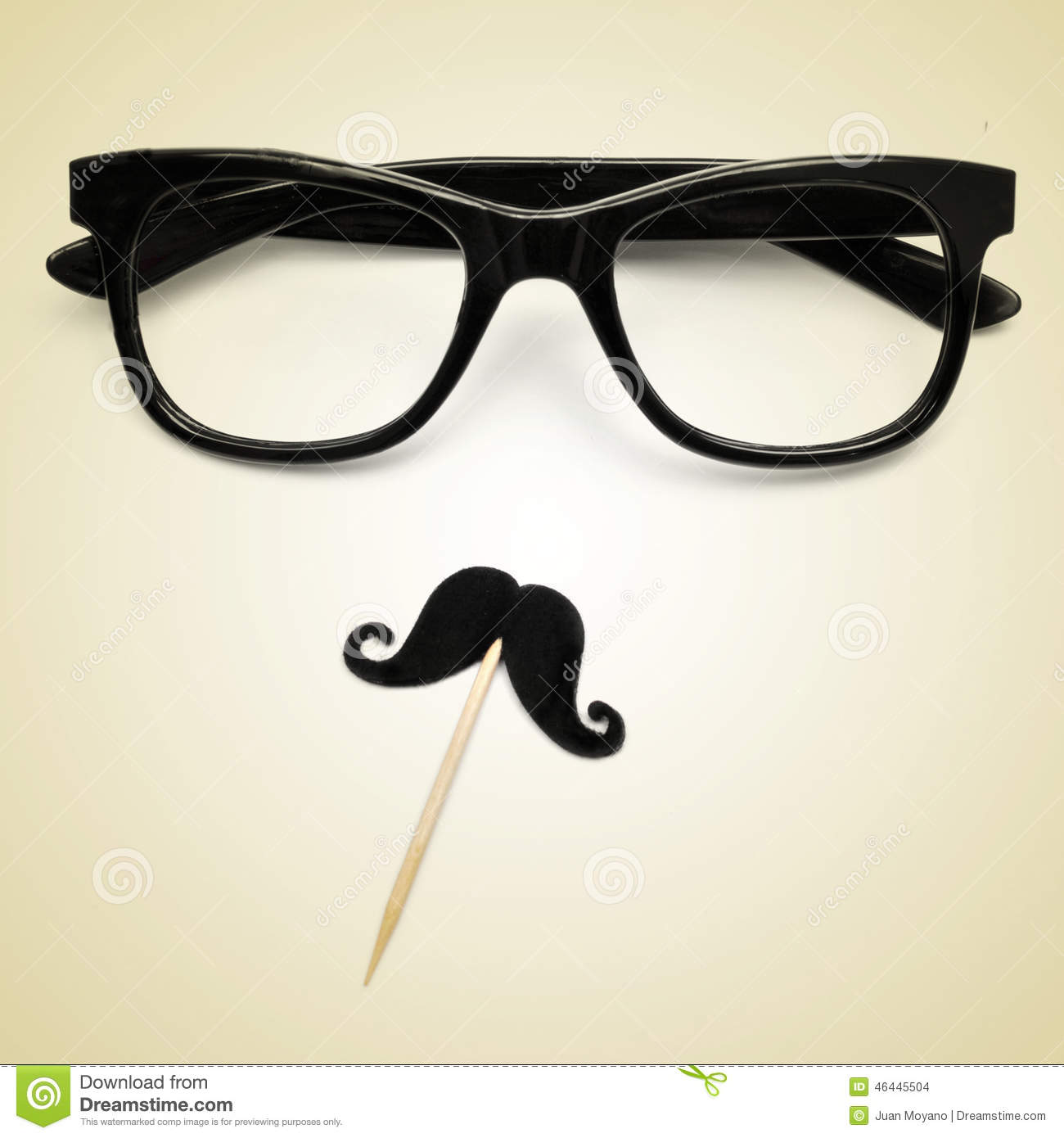 Eyeglasses And Moustache As A Hipster Guy, With A Retro ...