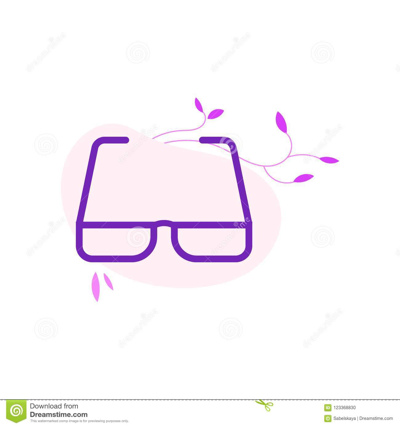 1b9adc4a9197 Eyeglasses with violet frame in flat style isolated on white background  with decoration.