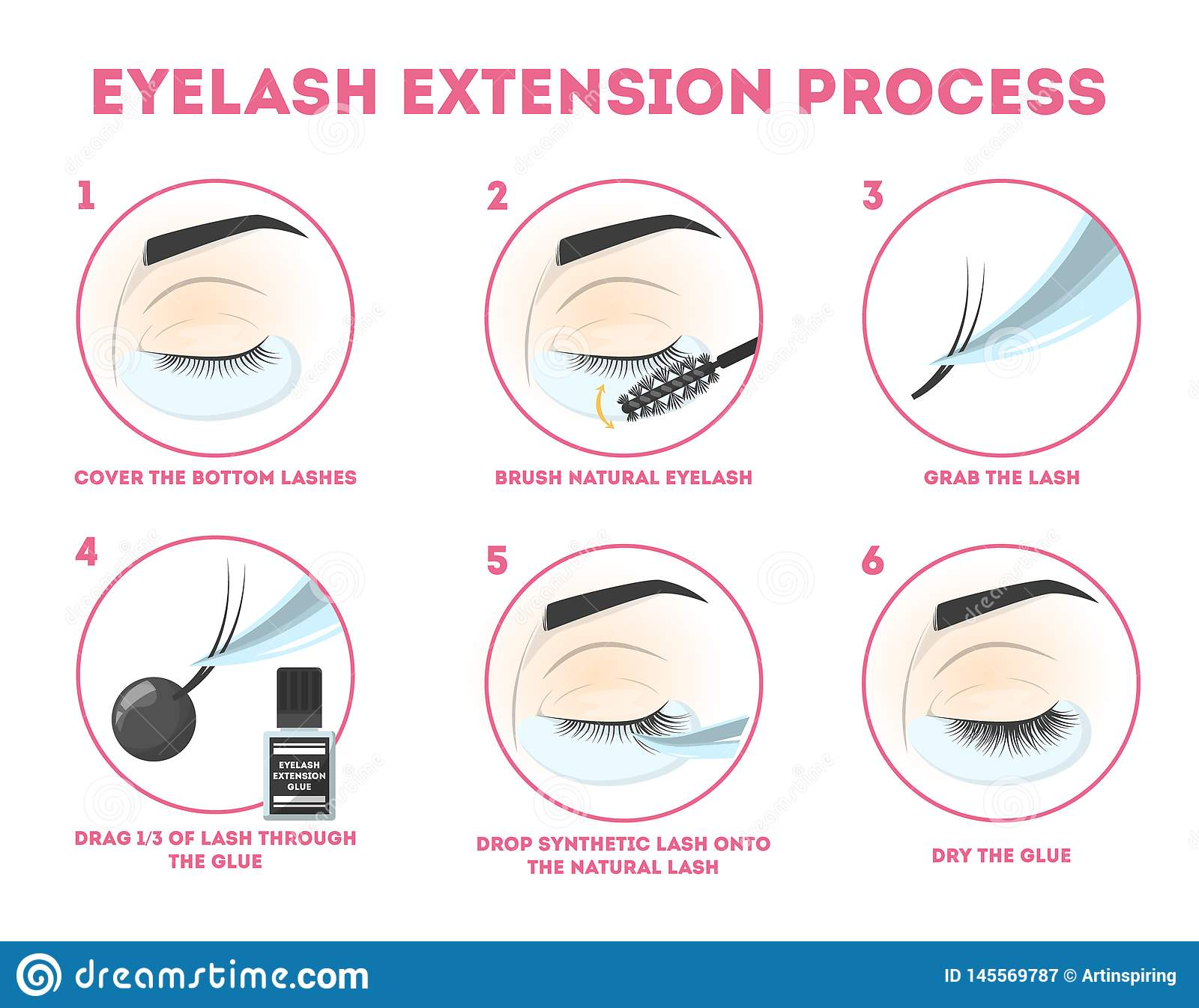 Eyelash Extension Guide For Woman  Infographic With Eyelashes Stock