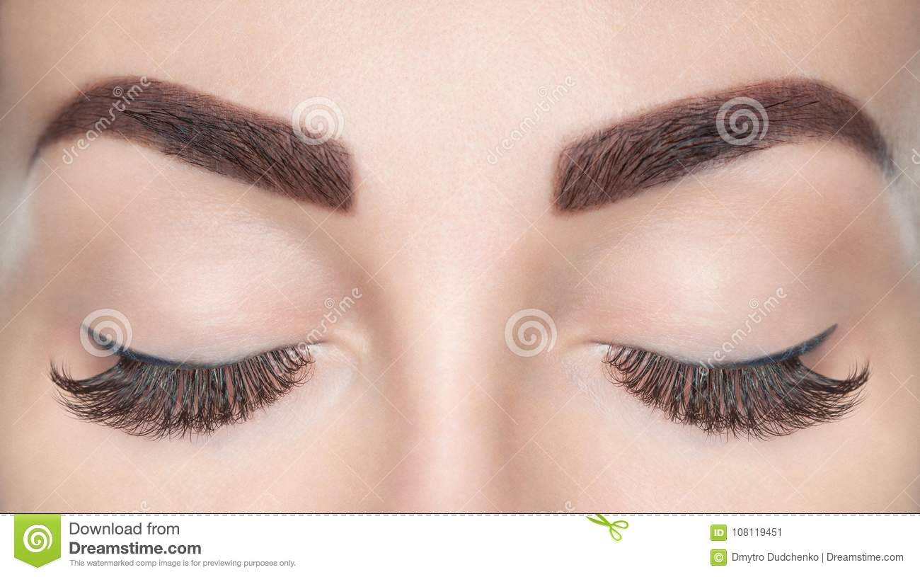ebfc77418a4 Eyelash Extension Procedure. Beautiful Woman With Long Lashes Stock ...